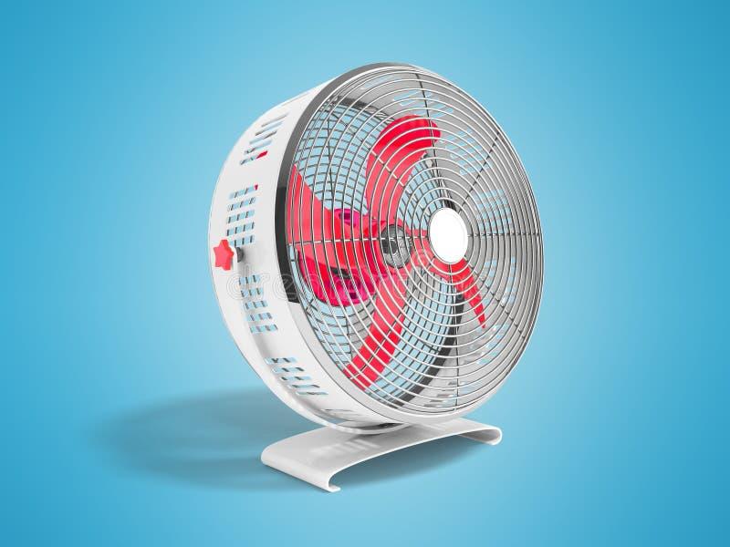 Moderner roter Metallventilator für das Abkühlen von Wiedergabe 3d auf blauem Hintergrund stock abbildung