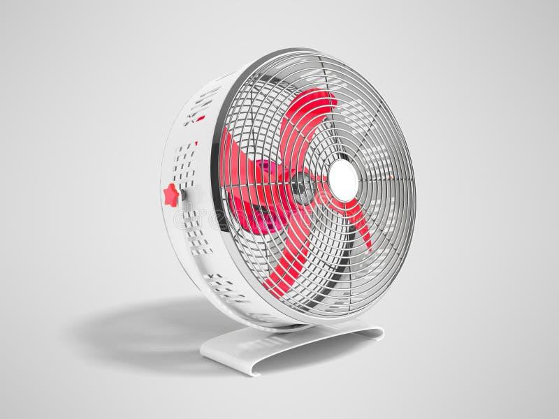 Moderner roter Metallventilator für das Abkühlen von Wiedergabe 3d auf grauem Hintergrund lizenzfreie abbildung