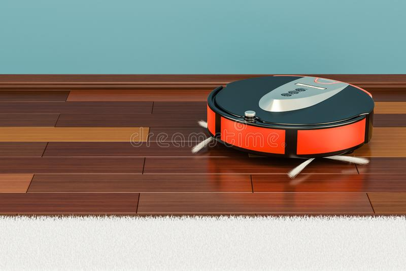 Moderner roter Roboterstaubsauger im Raum, Wiedergabe 3D lizenzfreie abbildung