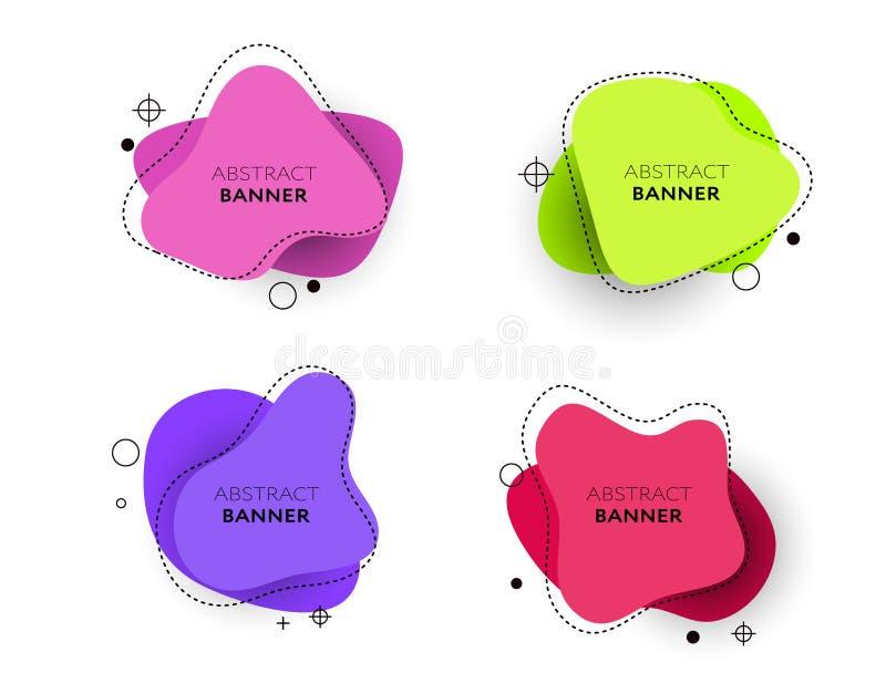 Moderner Satz abstrakte Fahnen Helle Schablonenfahnen des Vektors Schablone bereit zum Gebrauch im Netz oder im Druckentwurf stock abbildung