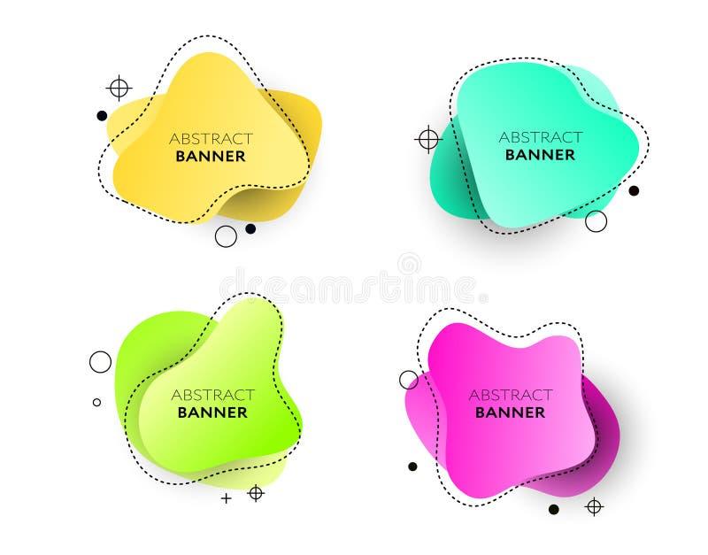 Moderner Satz abstrakte Fahnen Helle Schablonenfahnen des Vektors Schablone bereit zum Gebrauch im Netz oder im Druckentwurf lizenzfreie abbildung