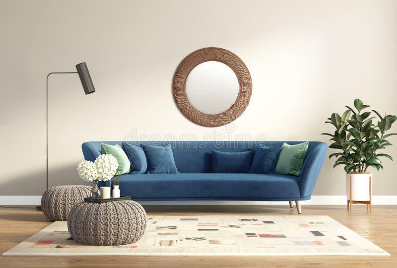 Moderner schicker klassischer Innenraum mit blauem Sofa und Schemeln lizenzfreie stockfotos