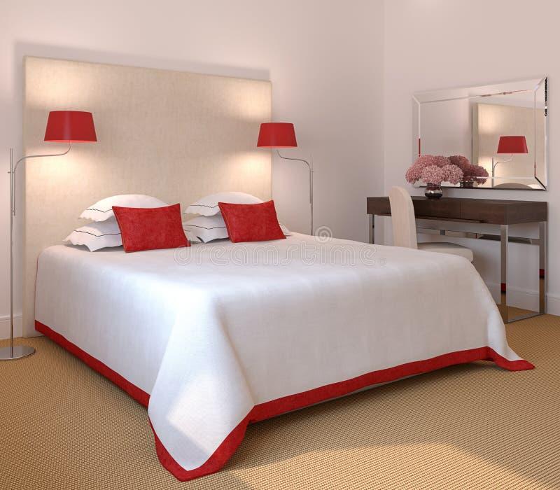 Moderner Schlafzimmerinnenraum. lizenzfreie abbildung