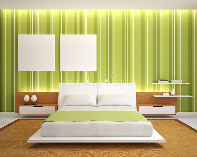 Moderner Schlafzimmerinnenraum. stock abbildung