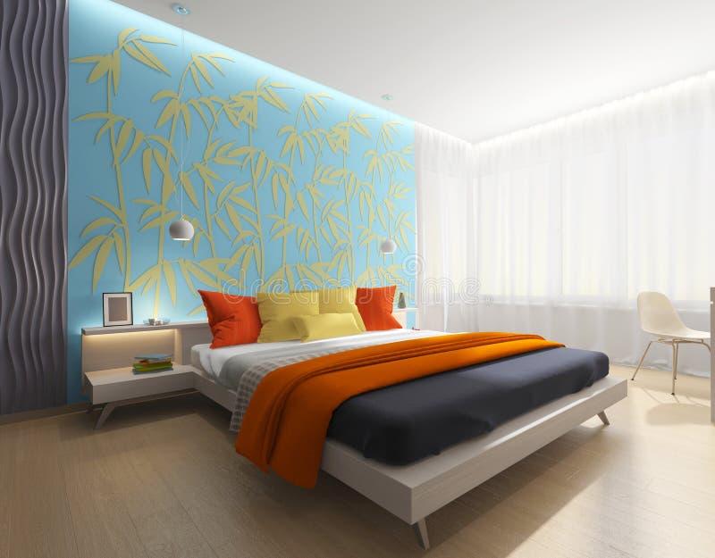 Moderner Schlafzimmerinnenraum lizenzfreie abbildung