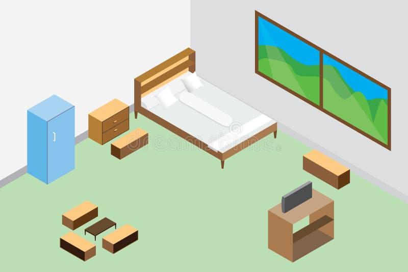 Moderner Schlafzimmerinnenraum und Möbel hölzern, Kühlschrankdesign-Vektorillustration isometrische Art des Raumes vektor abbildung