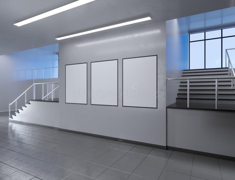 Moderner Schulkorridorinnenraum mit leerem Plakat auf Wand Spott oben, Illustration der Wiedergabe 3D stock abbildung