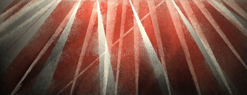 Moderner schwarzer Hintergrund mit beunruhigten weißen und roten Streifen und den Dreiecken stock abbildung