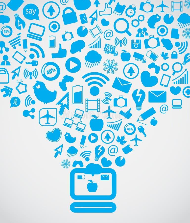 Moderner Sozialmediainhalt lizenzfreie abbildung
