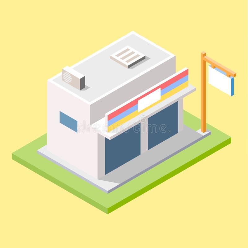 Moderner Speicher Minimarket im isometrischen Design lizenzfreie stockbilder