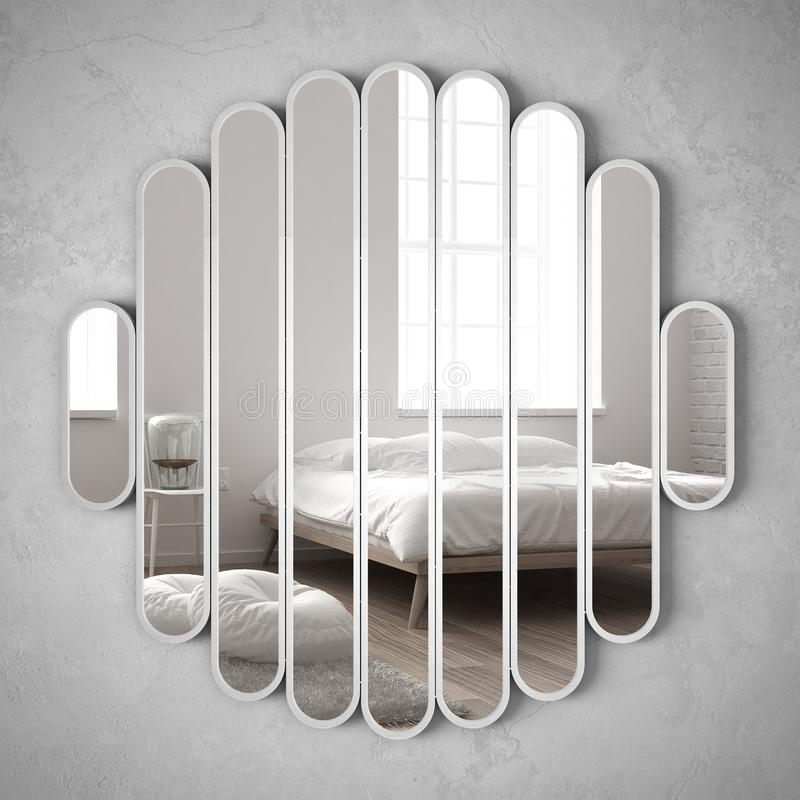 Moderner Spiegel, der an der Wand reflektiert Innenarchitekturszene, helles Schlafzimmer mit Bett, Stuhl und Tischlampe, unbedeut lizenzfreie stockfotografie