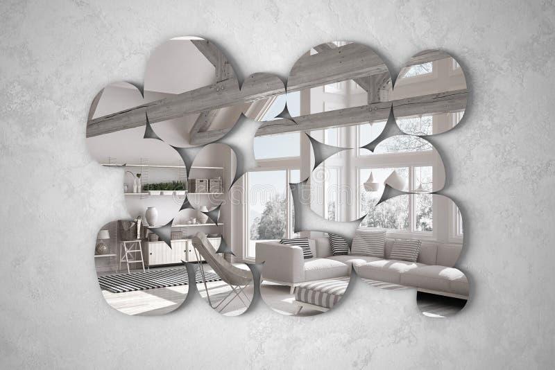 Moderner Spiegel in Form der Kiesel, die an der Wand reflektiert Innenarchitekturszene, helles Wohnzimmer mit dem Lehnsessel, Min lizenzfreie abbildung