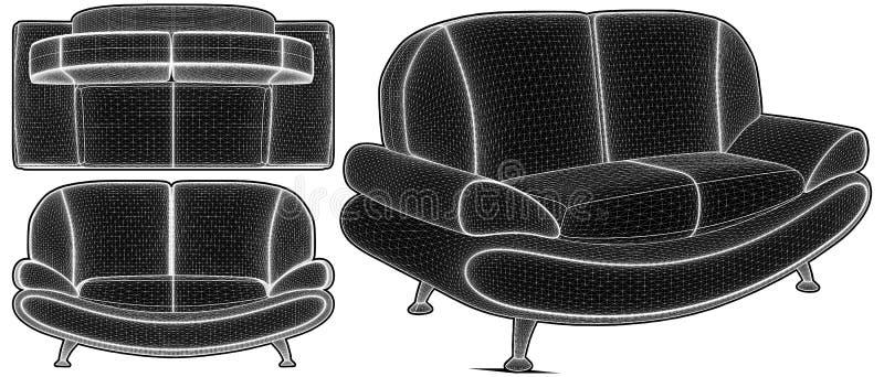 Moderner städtischer Sofa Illustration Vector lizenzfreie abbildung