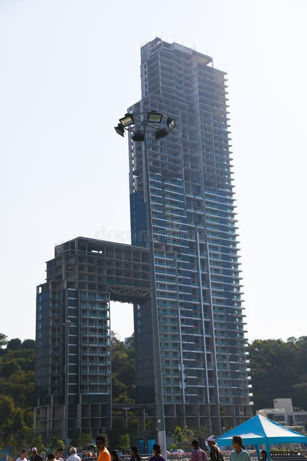 Moderner Stadthintergrund hohen Errichtens an Pattaya-Stadt Thailand stockbilder