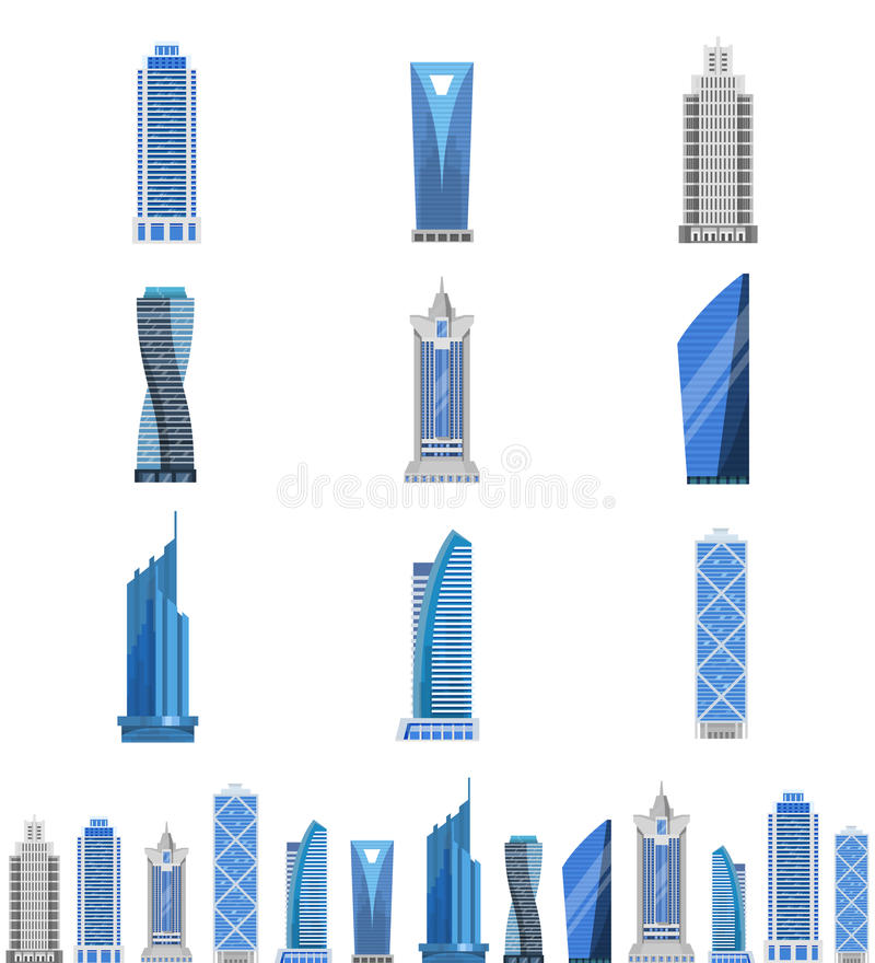 Moderner Stahl- und Glaswolkenkratzersatz stock abbildung
