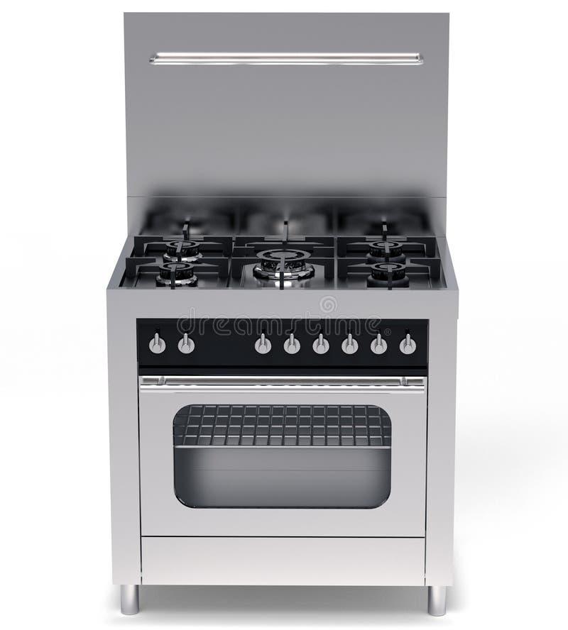 Moderner Stahlgasherd und Ofen lokalisiert auf Weiß stock abbildung