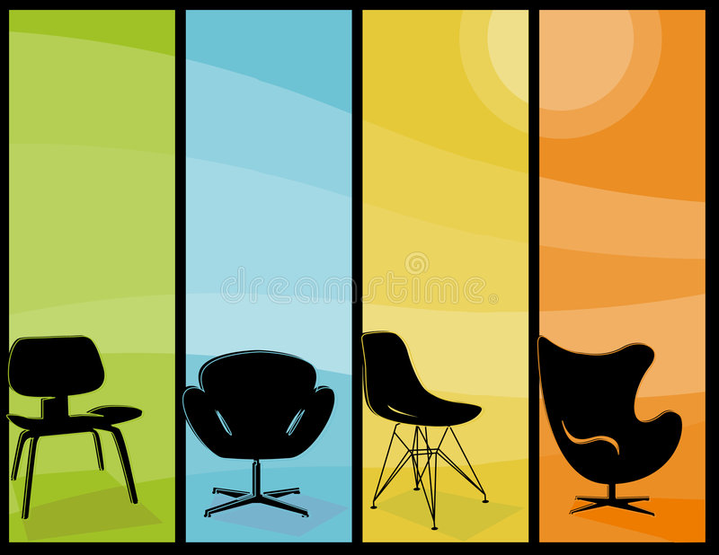Moderner Stuhl-hohe Fahnen stock abbildung