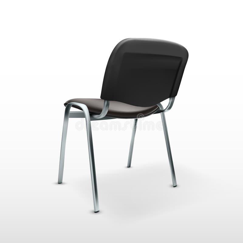 moderner Stuhl-Schwarz-Stoff des Büro-3D Rückseitige Ansicht vektor abbildung