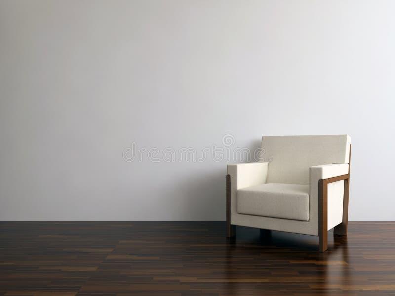 Moderner Stuhl, zum einer unbelegten Wand gegenüberzustellen lizenzfreie stockfotos
