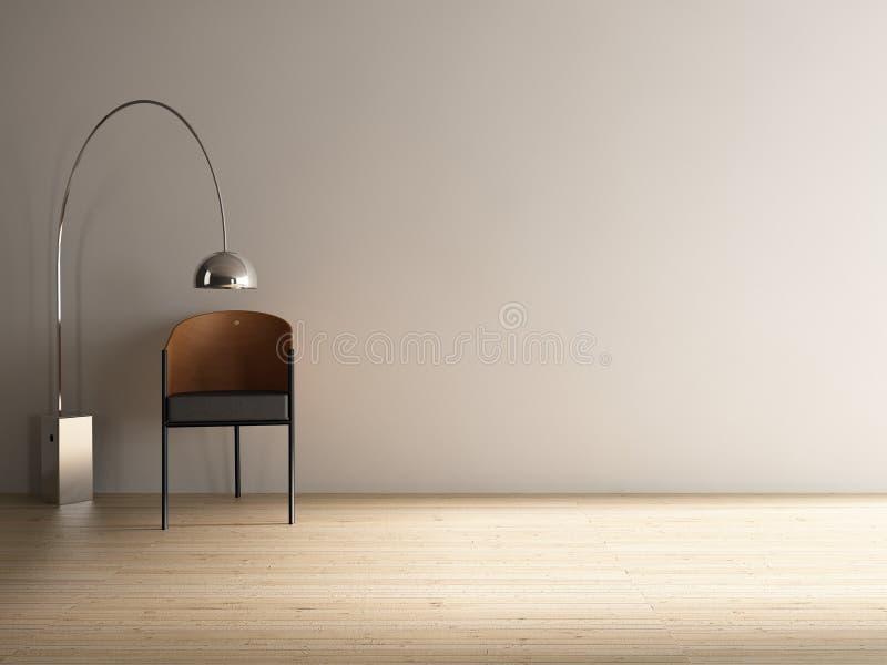 Moderner Stuhl, zum einer unbelegten Wand gegenüberzustellen lizenzfreie abbildung