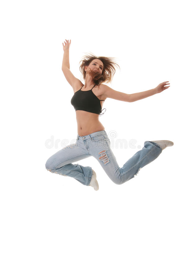 Moderner Tanz des jungen weiblichen Tanzenjazz lizenzfreies stockbild