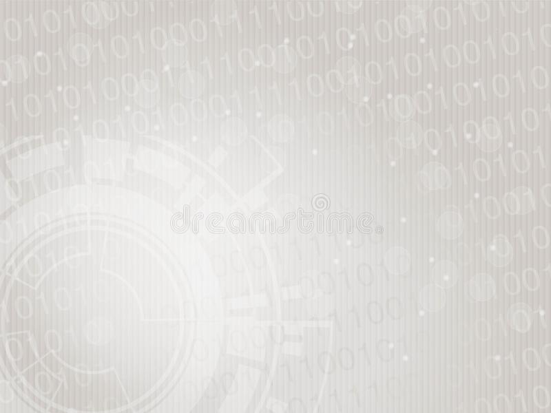 Moderner Technologieentwurf des Vektors, abstrakter futuristischer Hintergrund Planschablone mit binär Code und Gangrad tapete Si stock abbildung