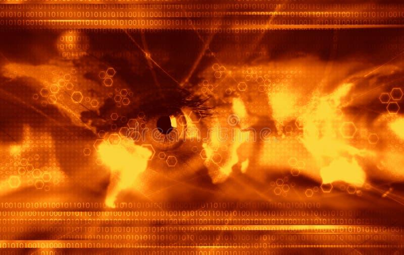 Moderner Technologiehintergrund - Orange lizenzfreie abbildung