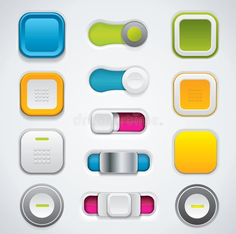 Moderner UI Knopfsatz, -schalter und -druckknöpfe stock abbildung