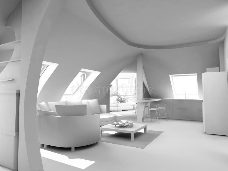 Moderner unbelegter Innenraum lizenzfreie abbildung