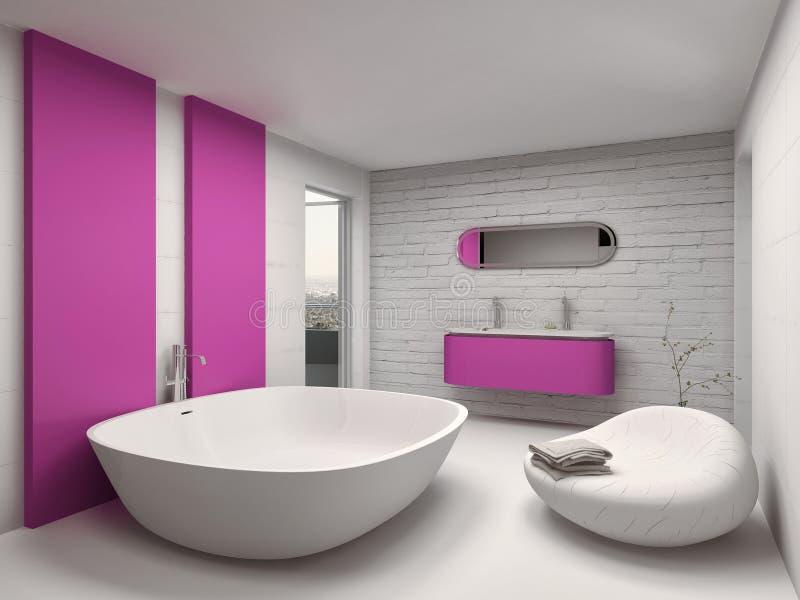 Moderner und Luxusbadezimmerinnenraum mit rosa Möbeln vektor abbildung