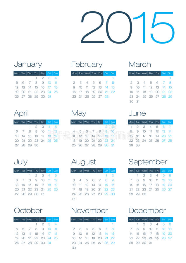 Moderner und sauberer Geschäft 2015 Kalender vektor abbildung