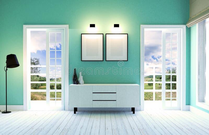 Moderner und zeitgenössischer Wohnzimmerinnenraum mit grüner Wand und Holzfußboden stockfoto