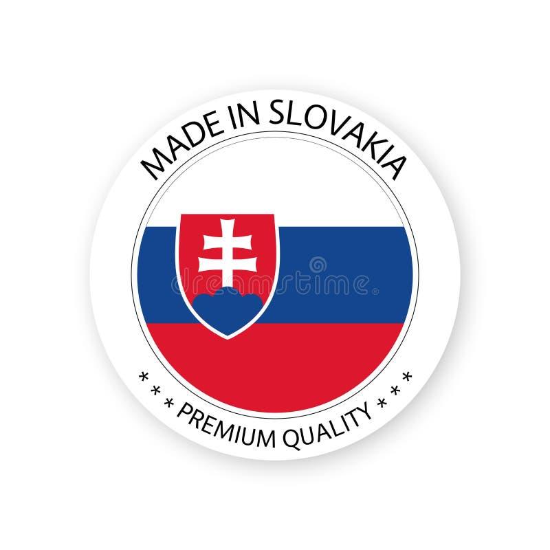 Moderner Vektor gemacht in Slowakei-Aufkleber lokalisiert auf weißem Hintergrund lizenzfreie abbildung