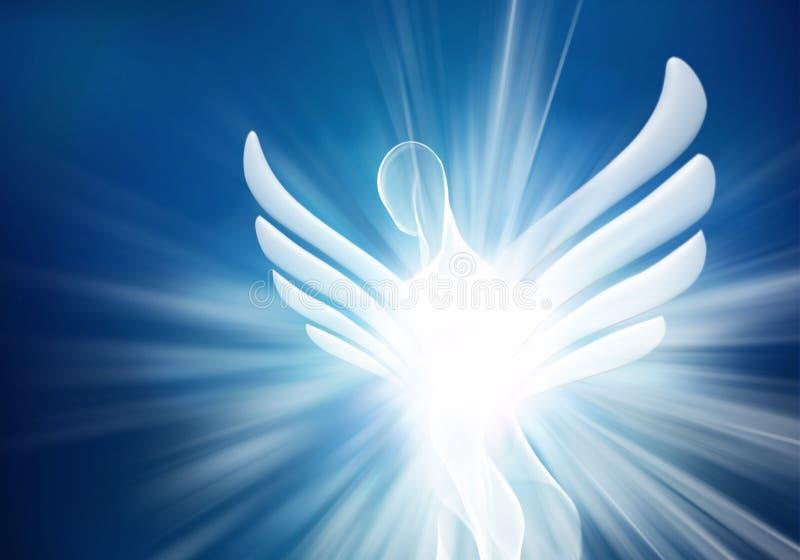 Moderner weißer Engel der Zusammenfassung im Himmel mit hellen hellen Strahlen stock abbildung