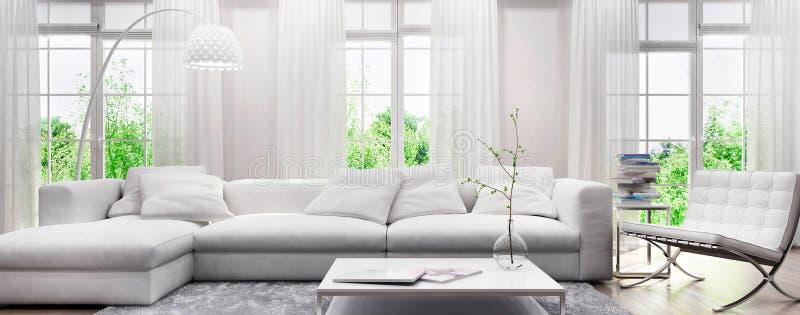 Moderner weißer Innenraum mit einem Sofa und großen Fenstern stockbild