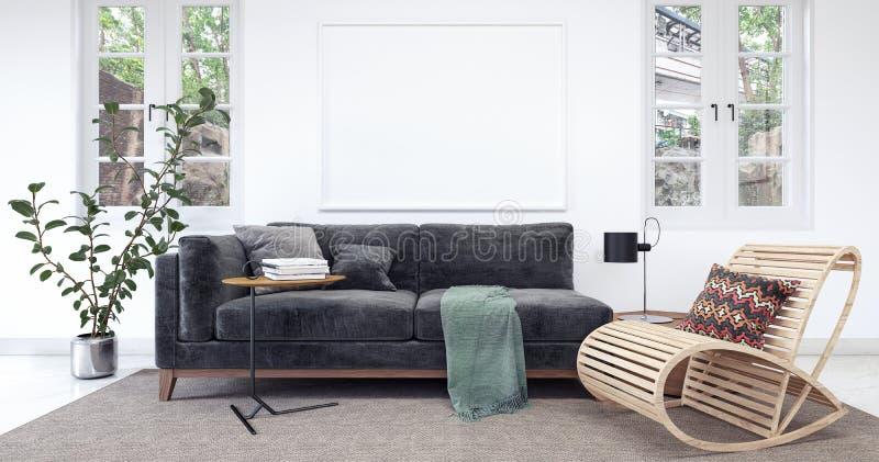Moderner weißer Innenraum mit schwarzem Sofa stockfotografie