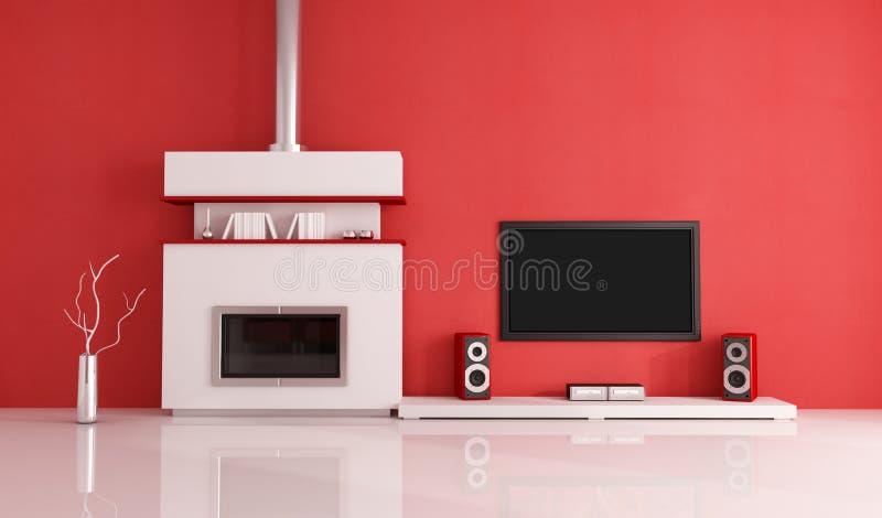 Moderner weißer Kamin und Hauptfernsehsystem vektor abbildung