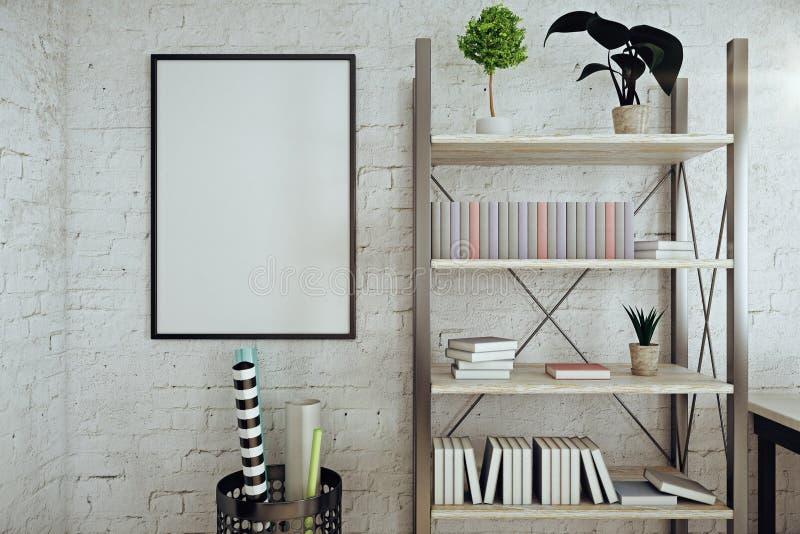 Moderner weißer Ziegelsteininnenraum mit Rahmen lizenzfreie abbildung