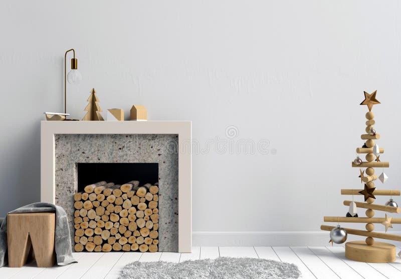 Moderner Weihnachtsinnenraum mit einem dekorativen Kamin, Scandinav lizenzfreie abbildung
