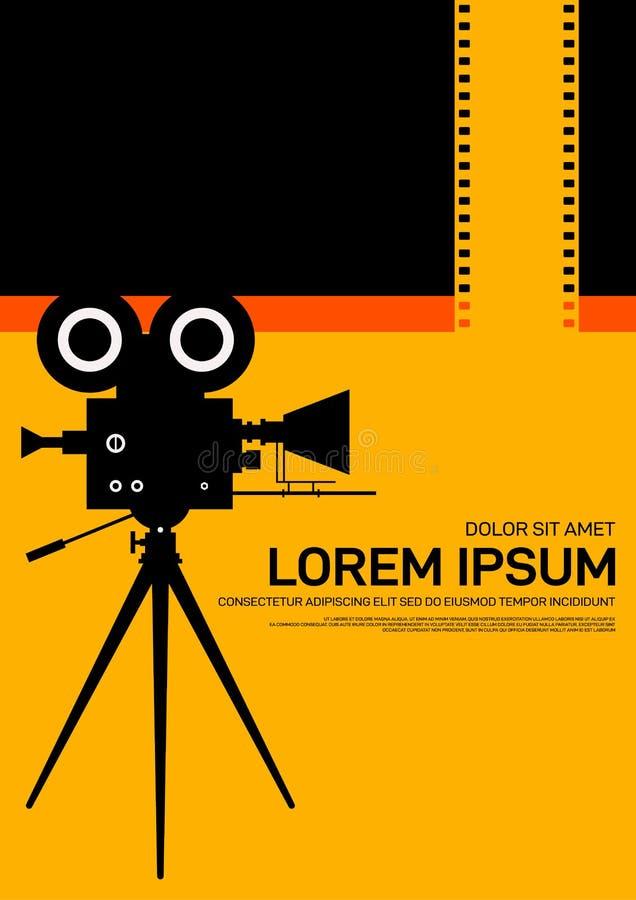 Moderner Weinleseretrostil des Film- und Filmplakatentwurfsschablonenhintergrundes vektor abbildung