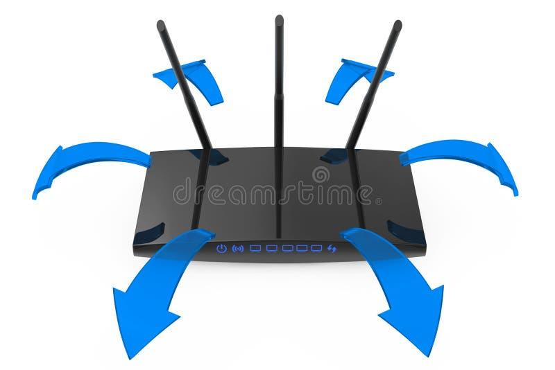 Moderner WiFi-Router mit glühenden blauen Signal-Pfeilen Wiedergabe 3d vektor abbildung