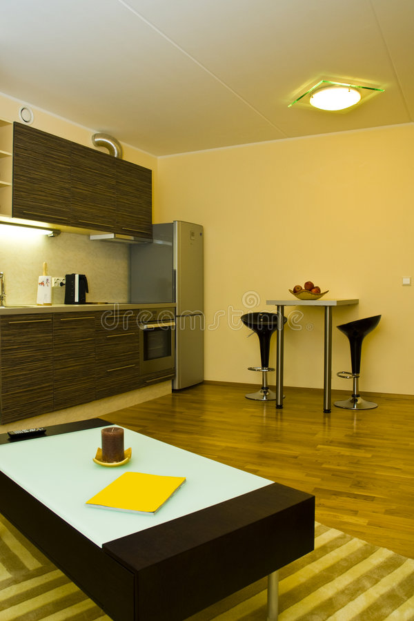 Moderner Wohnungs-Innenraum stockbild