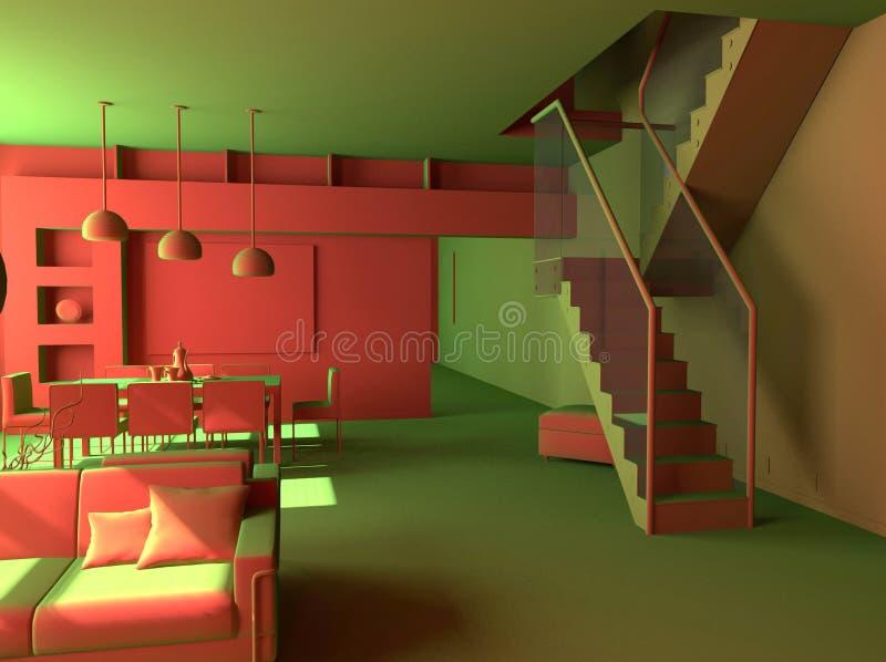Moderner Wohnungsinnenraum stock abbildung
