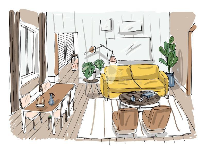 Moderner Wohnzimmer-Innenraum Gelieferter Salon Bunte Vektorillustrationsskizze auf hellem Hintergrund vektor abbildung