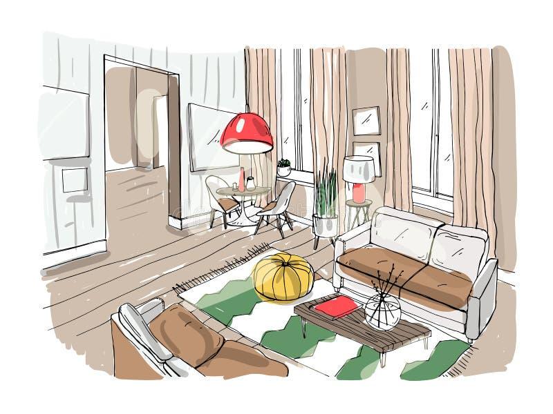 Moderner Wohnzimmer-Innenraum Gelieferter Salon Bunte Vektorillustrationsskizze auf hellem Hintergrund lizenzfreie abbildung