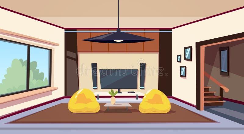 Moderner Wohnzimmer-Innenraum mit Bean Bag Chairs And And großes geführtes Televison auf Wand-Heimkino einstellen lizenzfreie abbildung