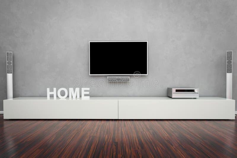 Modernes Wohnzimmer mit Fernsehapparat stockfoto