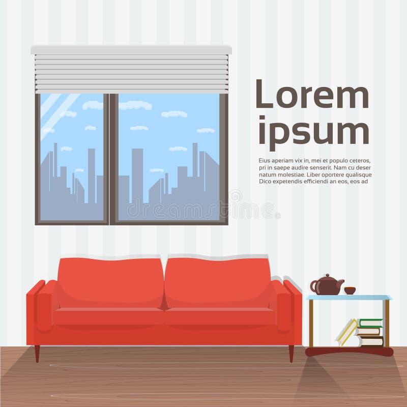 Moderner Wohnzimmer-Innenraum mit roter Couch unter großem Fenster Minimalistic-Design lizenzfreie abbildung