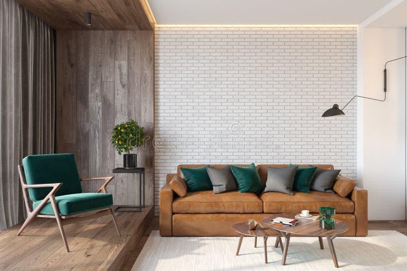 Moderner Wohnzimmerinnenraum mit Backsteinmauerleerer wand, Sofa, Klubsessel, Tabelle, hölzerner Wand und Boden stockbilder