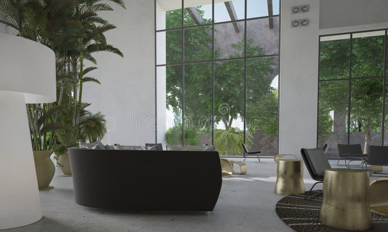 Moderner Wohnzimmerinnenraum mit enormen Fenstern stockbilder